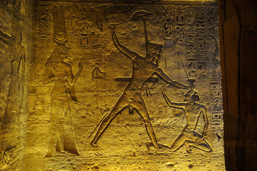 Abu Simbel - Temple of Hathor; Inside, Relief