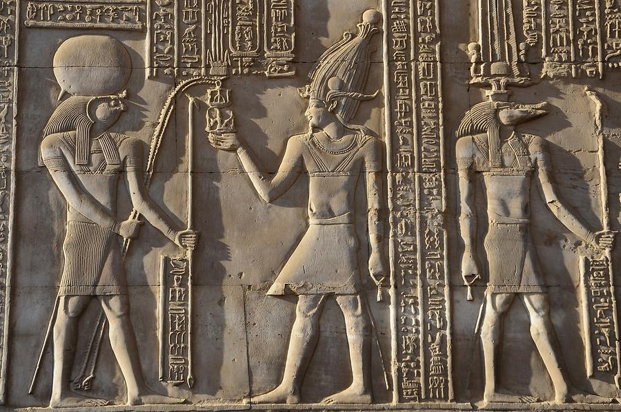 Temple of Kom Ombo - Relief; Horus and Sobek
