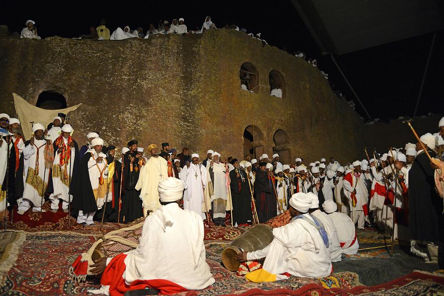Biete Medhane Alem at Night - Christmas Ceremony