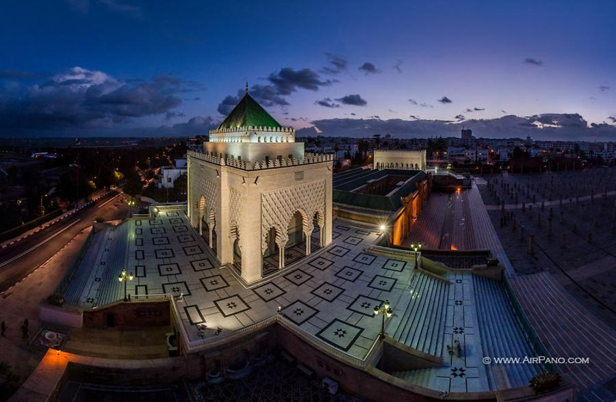 Mausoleum of Mohammed at night. Rabat, Morocco, © AirPano