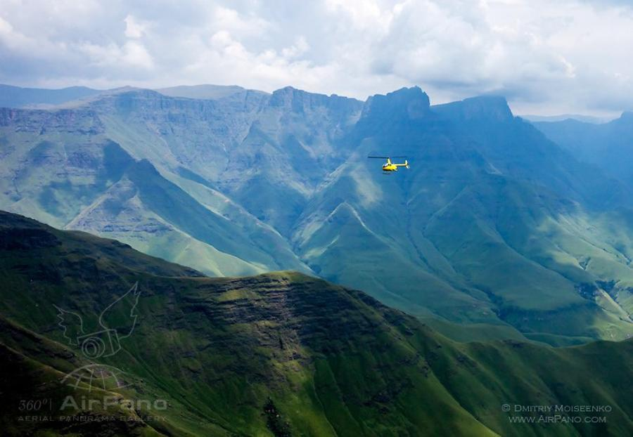 Helicopter above the Drakensberg