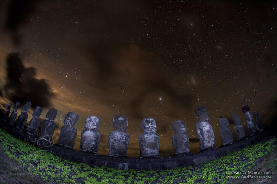 Moais of Easter Island at night