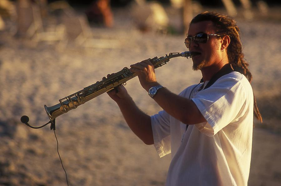 Pitons Bay - Jalousie Beach; Saxophonist Rob Tayler