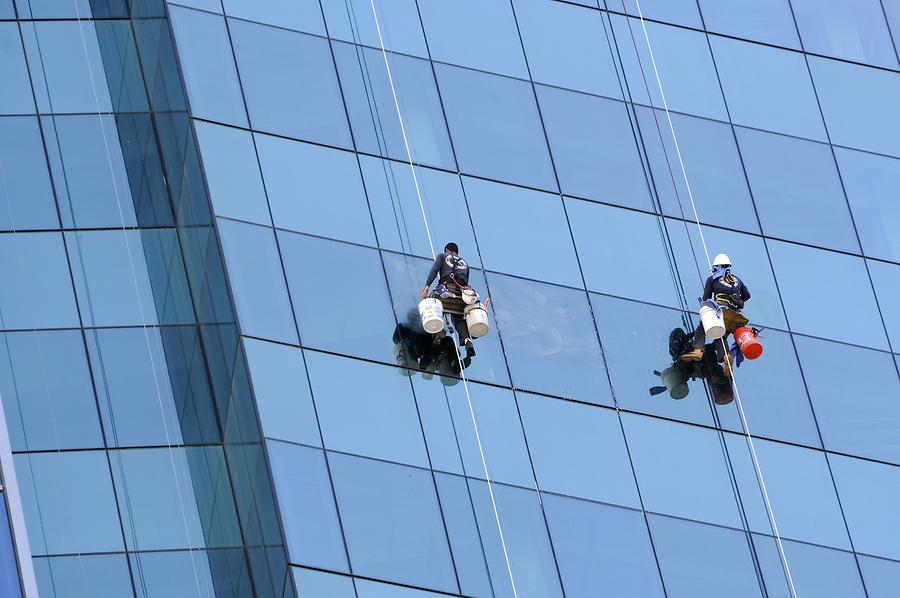 Downtown Miami - Window Cleaners; Blow-up