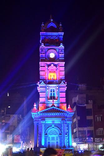 Colonial style clock tower Ganthar Gar in Faisalabad, Photo: Ehtesham999, 2105, Wikicommons