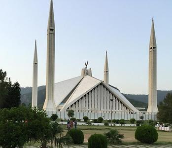 Faisal Mosque, one of the famous mosques in Islamabad. It is famous for its 4 pillars and moon in the middle. It has a covered area of around 54,000 sq ft. It was built by the support of Saudi King Faisal bin Abdul Aziz., Photo: Rizwan Mehmood, 2015
