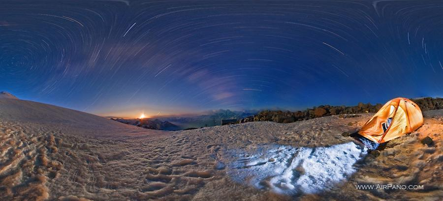 Starry sky over mount Elbrus