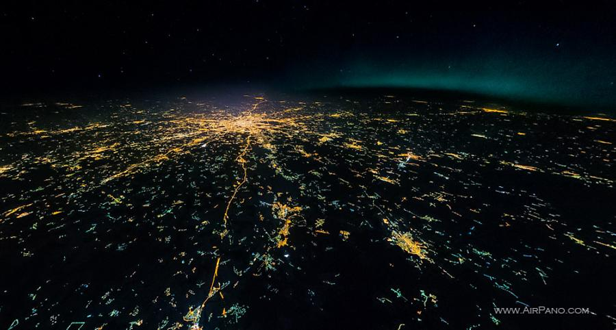 Night flight to stratosphere over the Moscow