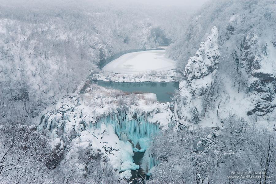 Plitvice Lakes National Park in winter, Croatia, © AirPano