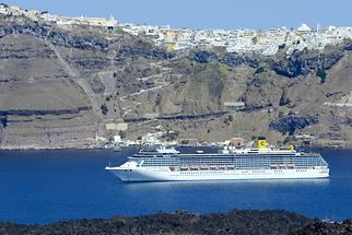 Cruise Liner in the Caldera