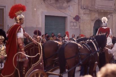 One of the highlights of the procession, a Roman chariot