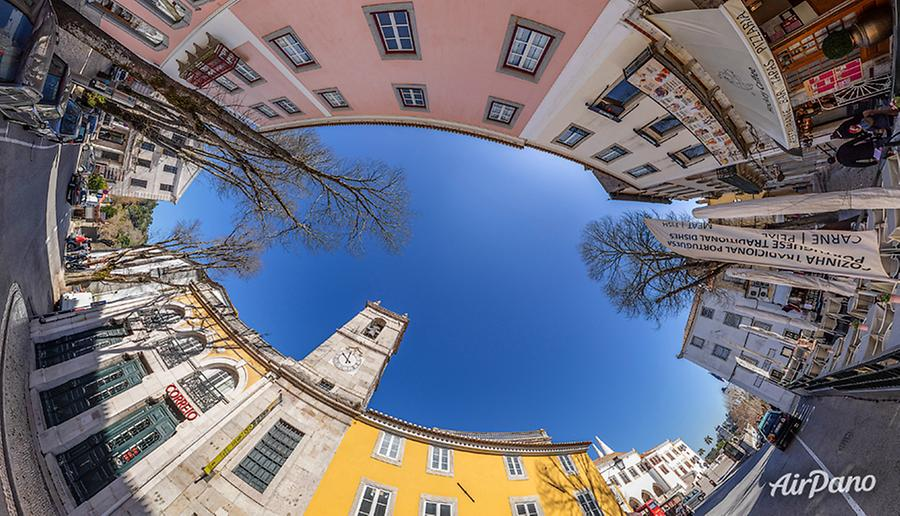 The clock tower (Torre do Relógio). Sintra, Portugal, © AirPano