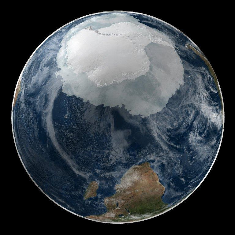 A global view of the Antarctic on 21 September 2005. This image presents the entire Antarctic region, most of the Southern Ocean, large portions of the southern Atlantic and Pacific Oceans, as well as the island of Madagascar and southern Africa. Image courtesy of NASA.