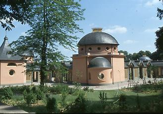 The domed building is actually a gate that connects two covered corridors