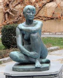 Sculpture in the yard of the Angell Hus