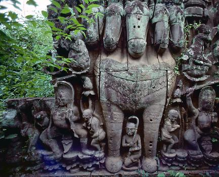 A five-headed horse - probably the Balaha horse from Buddhist mythology.