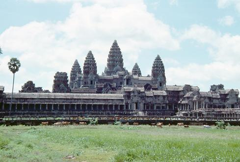 An overall view of Angkor Wat. Cows still grazed in the partially silted surrounding ponds in 1990.