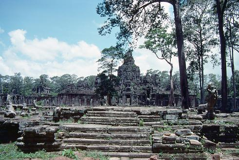 A view from the side of the Bayon Temple of Angkor Thom.