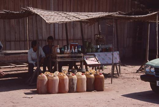 Gas station at Phumi Banam; even the small bottles on the table contain fuel