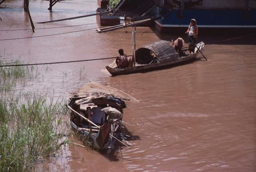 boats on a branch of the Mekong