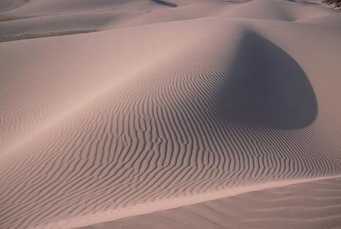 Sand dunes with characteristic ribbings