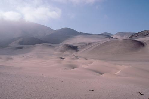 Sand dunes with fog from the Señal Mongon.