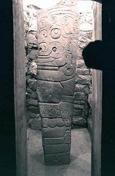 The Lanzón is a stele of more than 4 m height, a monolith dating from around 1000 BC. It shows the very elaborate bas-relief of a monster.