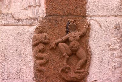 There is also Hindu image repertoire: Krishna is fighting against a snake demon and two snake deities