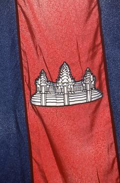 The flag of Cambodia with the main temple of Angkor Wat