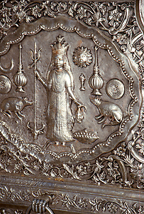 Silver relief with Karni Devi at the gate of the Temple