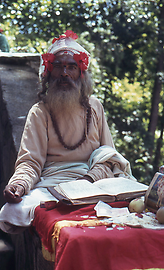 Shivan Sadhu instructing and blessing in the pilgrimage site of Dakshinkali in the Kathmandu valley