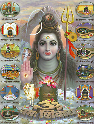Shiva is shown as an ascetic surrounded by twelve pilgrimage sites that are dedicated to him. In front of him stands his stylized penis as symbol (lingam) and is praised by the Mantra Om namah shivaya that is written in Nagari