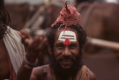 Shivan Sadhu with the characteristic topknot of an ascetic