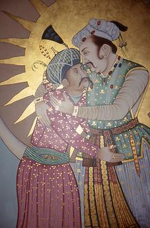 Akbar embraces his son and successor Jehangir.